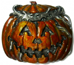 Haloween Pumpkin - Jack o Lantern Belt Buckle + display stand. Code BH2